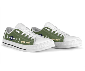"P-51B ""Ding Hao!"" Inspired Women's Low Top Canvas Shoes - I Love a Hangar"