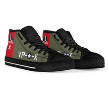 "Load image into Gallery viewer, B-17G ""Texas Raiders"" Inspired Women's High Top Canvas Shoes - I Love a Hangar"