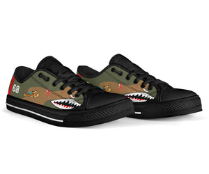 "P-40B ""Flying Tigers"" Inspired Women's Low Top Canvas Shoes - I Love a Hangar"