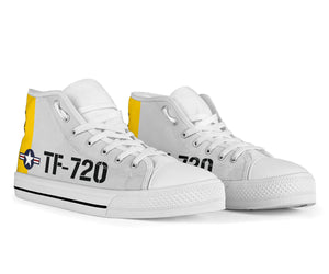 Boeing Stearman TF-720 Inspired Men's High Top Canvas Shoes - I Love a Hangar