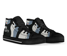 Load image into Gallery viewer, 64th Aggressor Squadron F-16C Inspired Women's High Top Canvas Shoes - I Love a Hangar