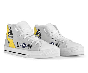 "B-17G ""Satan's Chillen"" Inspired Men's High Top Canvas Shoes - I Love a Hangar"