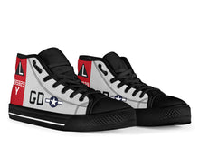 "Load image into Gallery viewer, B-17G ""Yankee Lady"" Inspired Men's High Top Canvas Shoes - I Love a Hangar"