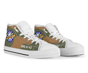 "AVG ""Flying Tigers"" Inspired Men's High Top Canvas Shoes - I Love a Hangar"