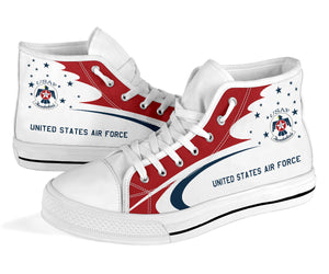 USAF Thunderbirds Display Team Inspired Men's High Top Canvas Shoes - I Love a Hangar