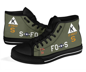 "B-17F ""Ye Olde Pub"" Inspired Men's High Top Canvas Shoes - I Love a Hangar"