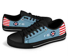 "Load image into Gallery viewer, F4F Wildcat of ""Butch"" O'Hare Inspired Women's Low Top Canvas Shoes - I Love a Hangar"