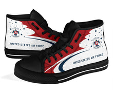 Load image into Gallery viewer, USAF Thunderbirds Display Team Inspired Women's High Top Canvas Shoes - I Love a Hangar
