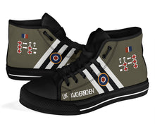 "Load image into Gallery viewer, C-47 ""Kwicherbichen"" Inspired Men's High Top Canvas Shoes - I Love a Hangar"