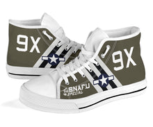 "Load image into Gallery viewer, C-47 ""The SNAFU Special"" Inspired Women's High Top Canvas Shoes - I Love a Hangar"