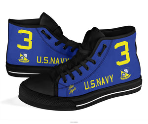 """Blue Angels"" F8F Bearcat Inspired Men's High Top Canvas Shoes - I Love a Hangar"