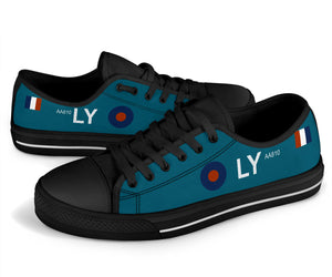 "Spitfire PR Mk IV of FltLt Alastair ""Sandy"" Gunn Inspired Women's Low Top Canvas Shoes - I Love a Hangar"