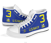 "Load image into Gallery viewer, ""Blue Angels"" F8F Bearcat Inspired Men's High Top Canvas Shoes - I Love a Hangar"