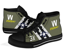 "Load image into Gallery viewer, C-47 ""That's All, Brother"" Inspired Women's High Top Canvas Shoes - I Love a Hangar"