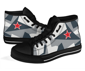 "Su-35S Flanker ""Arctic Splinter"" Inspired Men's High Top Canvas Shoes - I Love a Hangar"