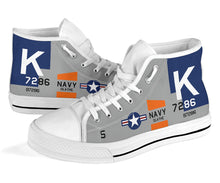 Load image into Gallery viewer, F4U Corsair Inspired Women's High Top Canvas Shoes - I Love a Hangar