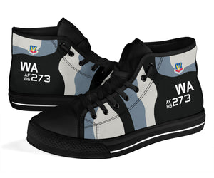 64th Aggressor Squadron F-16C Inspired Women's High Top Canvas Shoes - I Love a Hangar