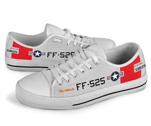 "P-51D ""Val-Halla"" Inspired Women's Low Top Canvas Shoes - I Love a Hangar"