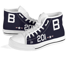 Load image into Gallery viewer, Grumman F8F Bearcat Inspired Men's High Top Canvas Shoes - I Love a Hangar