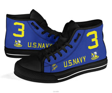 "Load image into Gallery viewer, ""Blue Angels"" F8F Bearcat Inspired Women's High Top Canvas Shoes - I Love a Hangar"