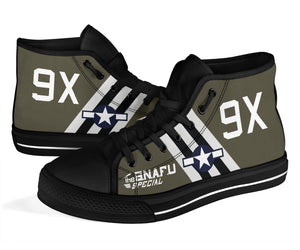 "C-47 ""The SNAFU Special"" Inspired Women's High Top Canvas Shoes - I Love a Hangar"