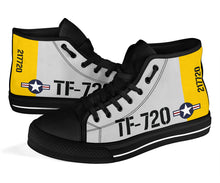 Load image into Gallery viewer, Boeing Stearman TF-720 Inspired Men's High Top Canvas Shoes - I Love a Hangar