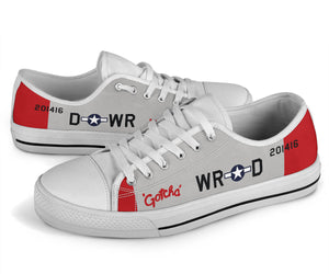 "P-51 ""Gotcha"" Inspired Men's Low Top Canvas Shoes"