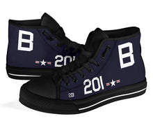 Load image into Gallery viewer, Grumman F8F Bearcat Inspired Women's High Top Canvas Shoes - I Love a Hangar
