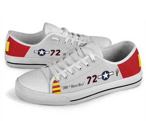 "P-51C ""Ina The Macon Belle"" of Lt.Col. Lee Archer Jr Women's Low Top Canvas Shoes - I Love a Hangar"