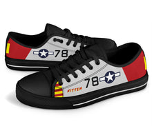 "Load image into Gallery viewer, P-51B ""Kitten"" of Brig. Gen. Charles McGee Men's Low Top Canvas Shoes - I Love a Hangar"
