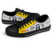 "Load image into Gallery viewer, P-51D ""Detroit Miss"" Inspired Women's Low Top Canvas Shoes - I Love a Hangar"