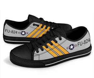 F-86 Sabre Inspired Women's Low Top Canvas Shoes - I Love a Hangar