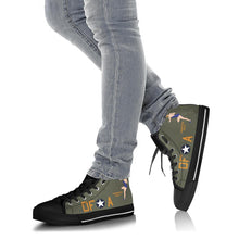 "Load image into Gallery viewer, B-17F ""Memphis Belle"" Inspired Women's High Top Canvas Shoes - I Love a Hangar"