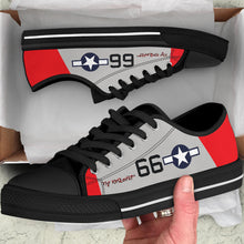 "Load image into Gallery viewer, P-51C ""By ReQuest"" of Gen Benjamin Davis Jr Inspired Men's Low Top Canvas Shoes - I Love a Hangar"