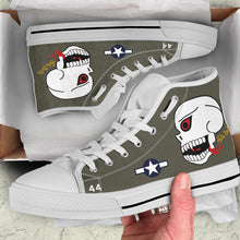 "Load image into Gallery viewer, P-40N ""The Burma Banshees"" Inspired Women's High Top Canvas Shoes - I Love a Hangar"