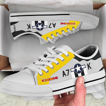 "Load image into Gallery viewer, P-51D ""Never Miss"" Inspired Women's Low Top Canvas Shoes - I Love a Hangar"
