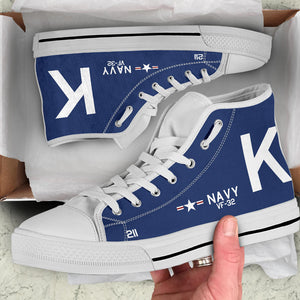 F4U-7 Corsair of Jesse Brown Inspired Men's High Top Canvas Shoes - I Love a Hangar