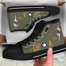 "Load image into Gallery viewer, B-17F ""Memphis Belle"" Inspired Men's High Top Canvas Shoes - I Love a Hangar"