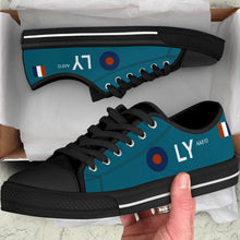 "Load image into Gallery viewer, Spitfire PR Mk IV of FltLt ""Sandy"" Gunn Inspired Men's Low Top Canvas Shoes - I Love a Hangar"