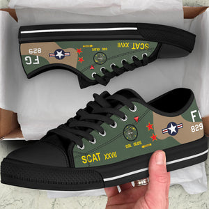 "Robin Olds ""SCAT XXVII"" F-4C Phantom Inspired Women's Low Top Canvas Shoes - I Love a Hangar"