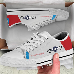 "P-51D ""Tall In The Saddle"" of Lt Col George Hardy Men's Low Top Canvas Shoes - I Love a Hangar"