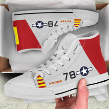"Load image into Gallery viewer, P-51B ""Kitten"" of Brig. Gen. Charles McGee Women's High Top Canvas Shoes - I Love a Hangar"