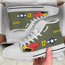 "Load image into Gallery viewer, P-40N Warhawk ""Parrot Head"" Inspired Men's High Top Canvas Shoes - I Love a Hangar"