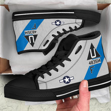 "Load image into Gallery viewer, B-17G ""Sentimental Journey"" Inspired Women's High Top Canvas Shoes - I Love a Hangar"