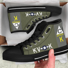 "Load image into Gallery viewer, B-17F ""Meat Hound"" Inspired Men's High Top Canvas Shoes - I Love a Hangar"