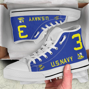 """Blue Angels"" F8F Bearcat Inspired Women's High Top Canvas Shoes - I Love a Hangar"