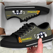"Load image into Gallery viewer, P-51 ""Frenesi"" Inspired Women's Low Top Canvas Shoes - I Love a Hangar"