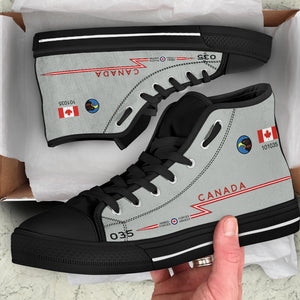 RCAF CF-101 Voodoo 409 SQN Inspired Women's High Top Canvas Shoes - I Love a Hangar