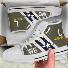 "Load image into Gallery viewer, C-47 ""Willa Dean"" Inspired Men's High Top Canvas Shoes - I Love a Hangar"