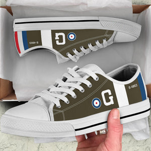 RAF S.E.5 of Major James McCudden VC Inspired Men's Low Top Canvas Shoes - I Love a Hangar